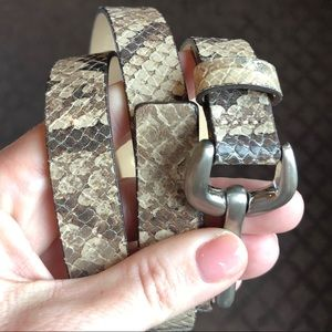 Genuine Leather Belt Chocolate Brown and Cream